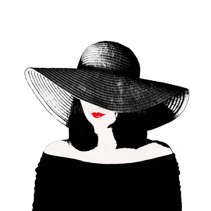 Foto i stilen av popkonst Ung härlig kvinna i ett retro royaltyfri illustrationer