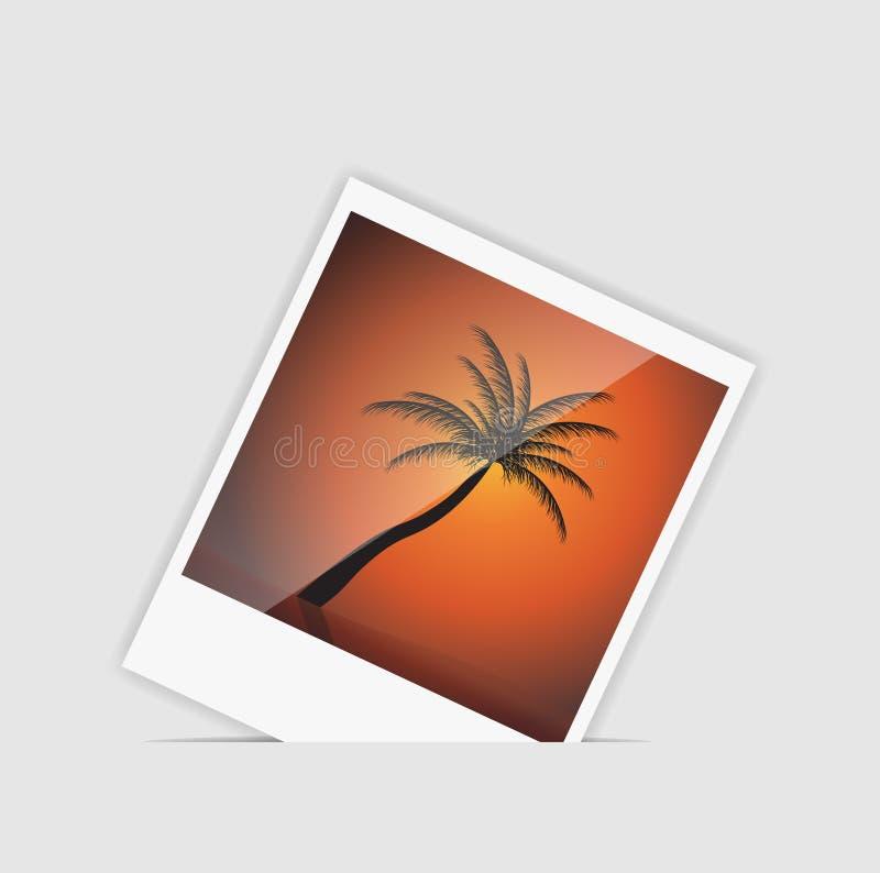 Foto inmediata del vector con vector de la palmera stock de ilustración