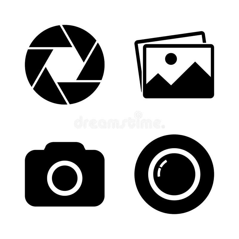 Foto kamery ikony set ilustracja wektor