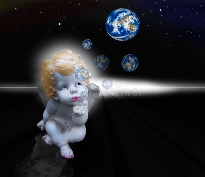 Foto-Kunst - Engel macht Blasen stockbild