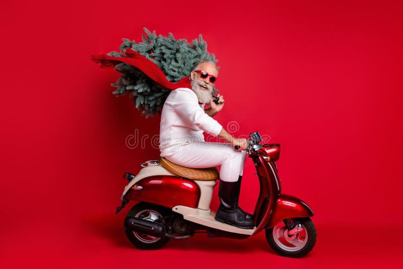 Foto laterale di profilo di un pensionato allegro in motocicletta con sopra un albero che si affretta a indossare il castmastime fotografia stock