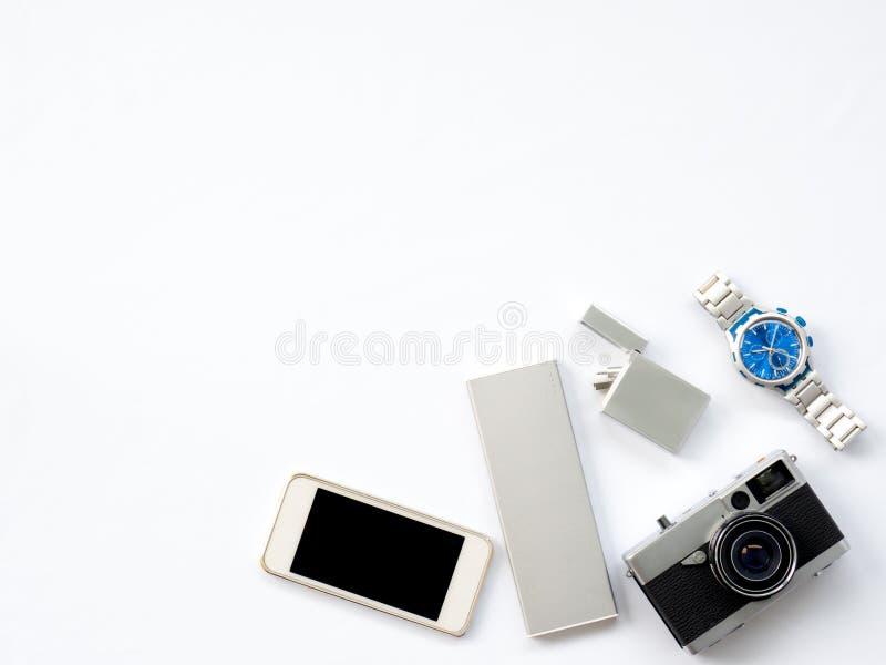 Foto lisa da tecnologia da configuração com os suportes espertos dos dispositivos imagem de stock royalty free