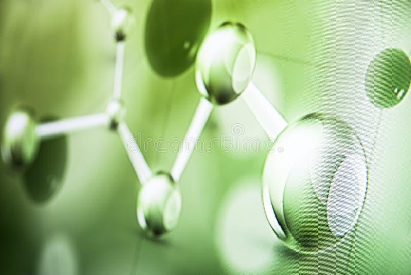 Foto médica abstracta del fondo de la luz verde de la molécula imagen de archivo