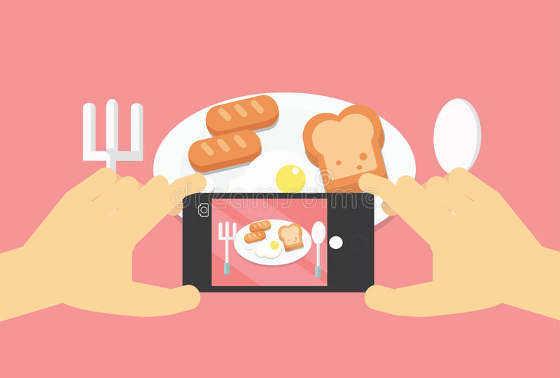 Foto móvil de la comida de la endecha plana, manos con el teléfono que toma la imagen stock de ilustración