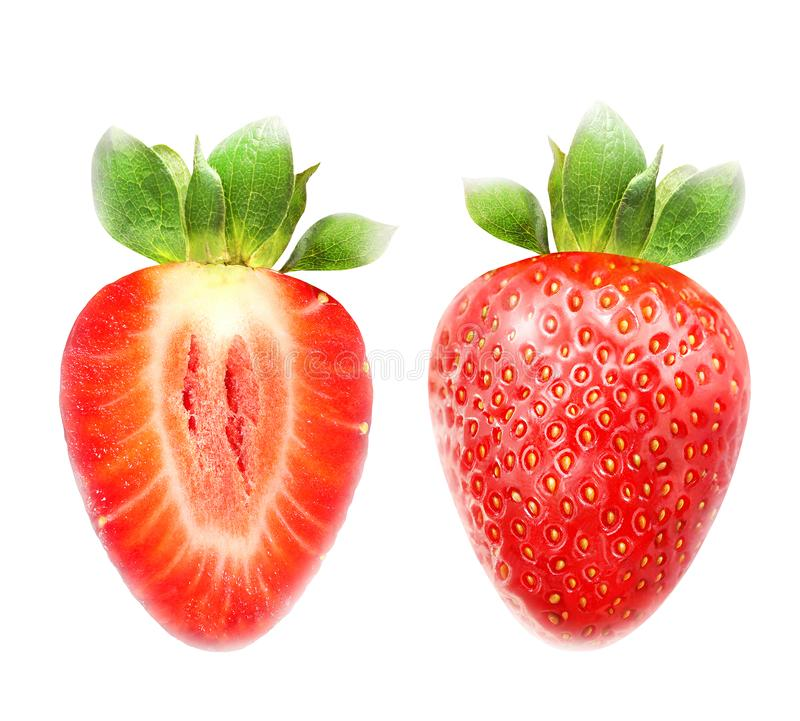 Foto macra brillante de la fresa madura roja aislada imágenes de archivo libres de regalías