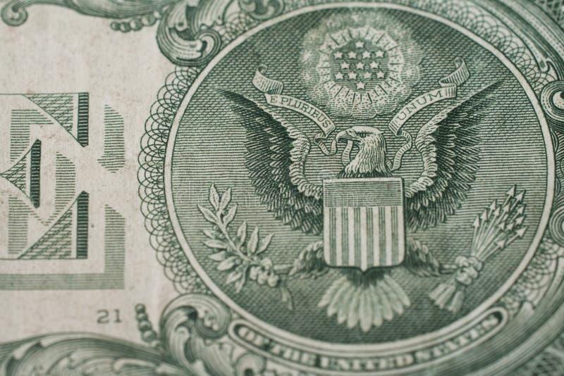 Foto macro da águia da nota de dólar dos E.U. um fotos de stock royalty free