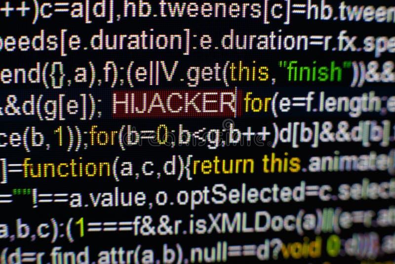 Foto macro do tela de computador com código fonte do programa e da inscrição destacada do PIRATA DO AR no meio Roteiro sobre imagem de stock royalty free
