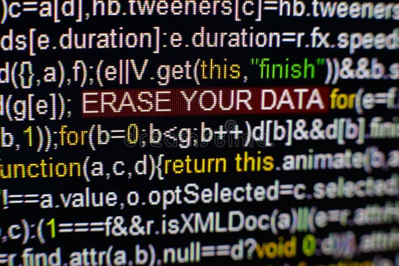 Foto macro do tela de computador com código fonte do programa e da inscrição destacada do SPYWARE no meio Roteiro no fotos de stock royalty free