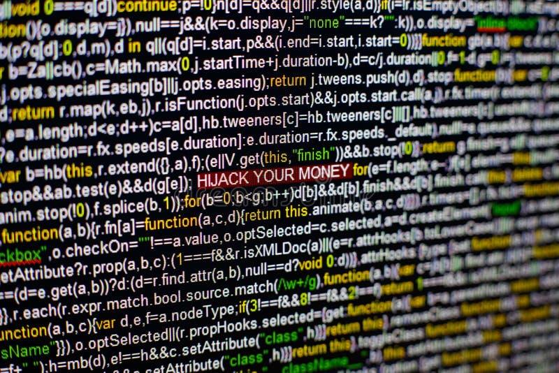 Foto macro do tela de computador com código fonte do programa e DESVIO DE AVIÃO destacado SUA inscrição do DINHEIRO no meio imagens de stock