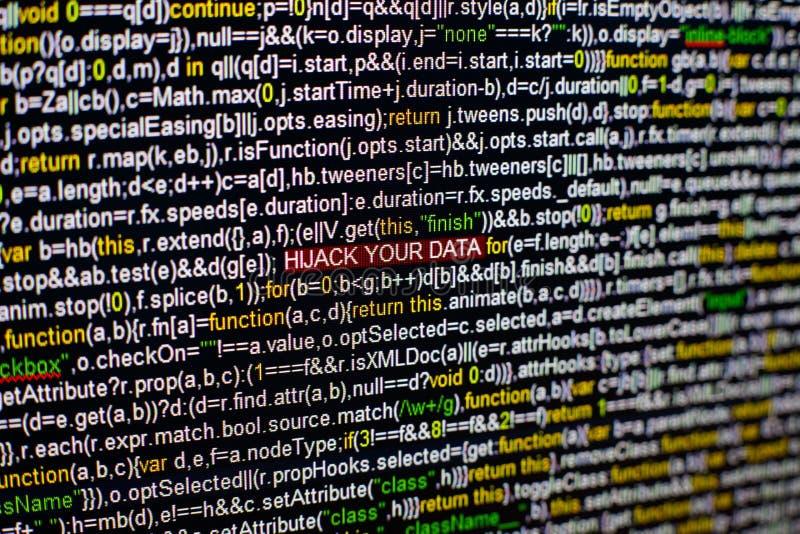 Foto macro do tela de computador com código fonte do programa e DESVIO DE AVIÃO destacado SUA inscrição dos DADOS no meio fotos de stock