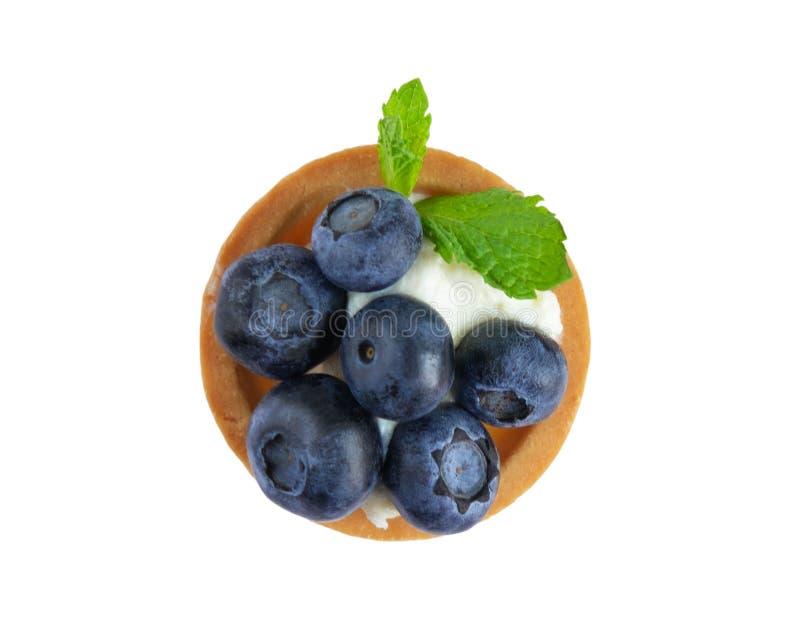 Foto macro dos tartlets com uva-do-monte, mirtilos e folhas de hortelã isoladas no fundo branco Bolos com o queijo de creme e fre fotos de stock