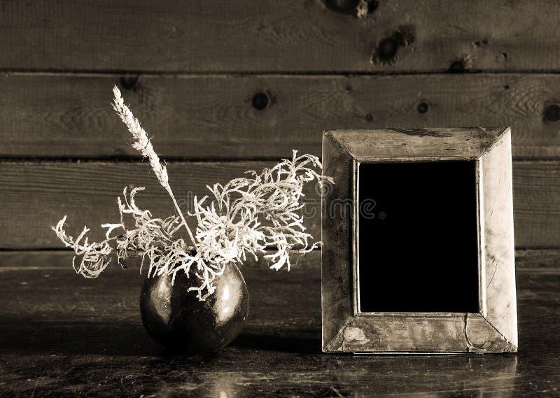 Foto-marco e ikebana de la vendimia en el vector viejo foto de archivo
