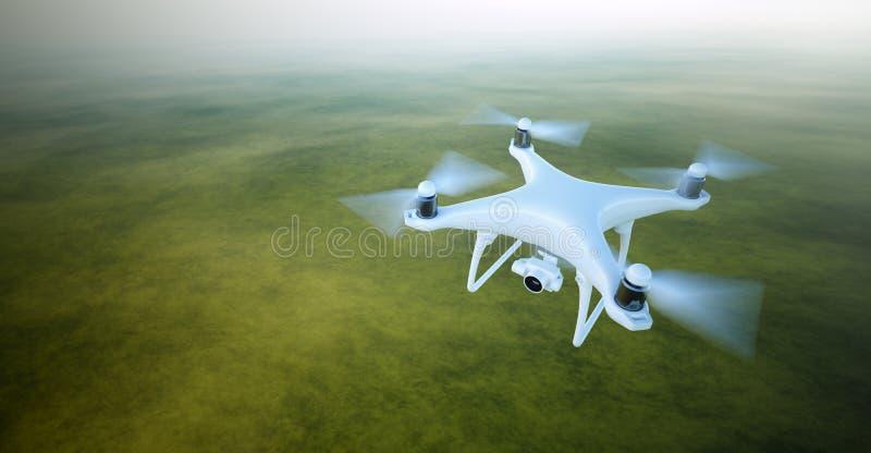 Foto Matte Generic Design Air Drone blanco con el vuelo de la cámara de vídeo en cielo bajo superficie de tierra Verde deshabitad
