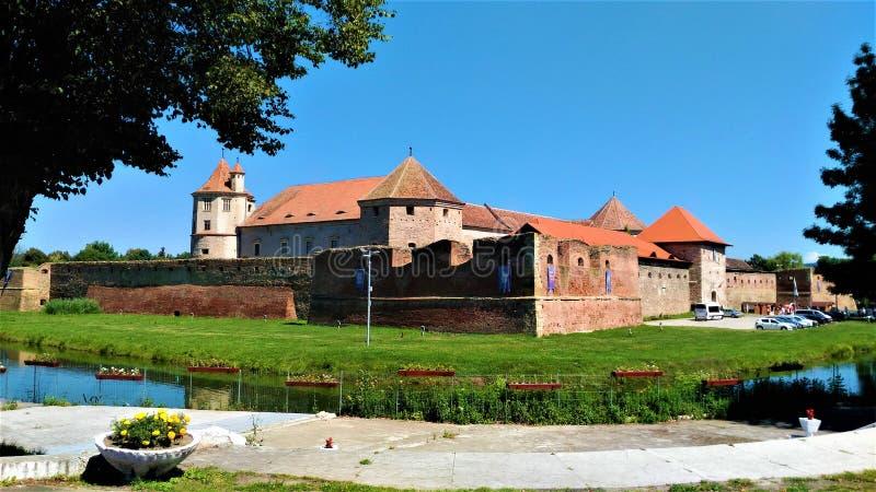 Foto met de Fagaras-vesting, Roemenië royalty-vrije stock afbeelding