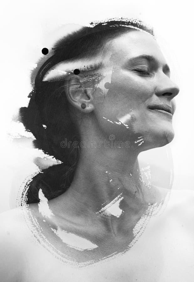 Foto met inkt het schilderen wordt gecombineerd die royalty-vrije stock foto's