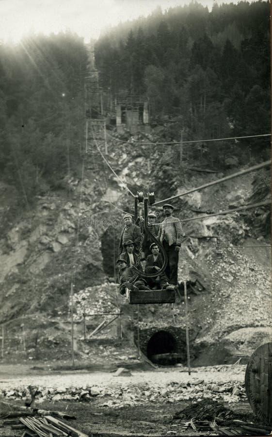 Foto-mineros antiguos de la original 1930 foto de archivo