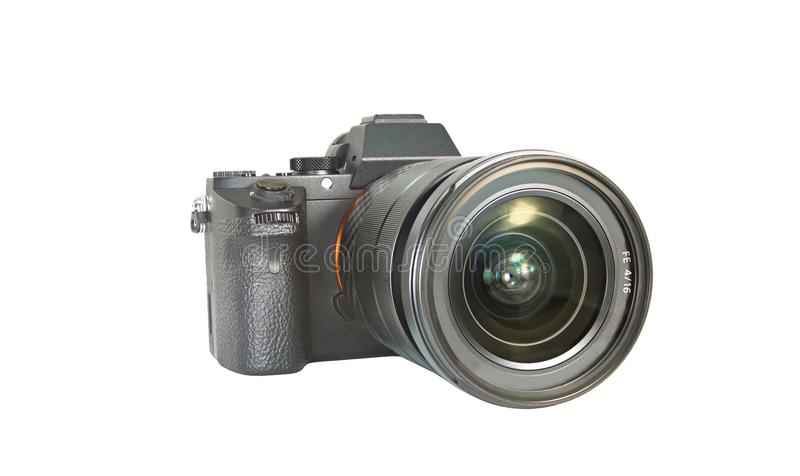 Foto mirrorless camera op geïsoleerde witte achtergrond royalty-vrije stock fotografie