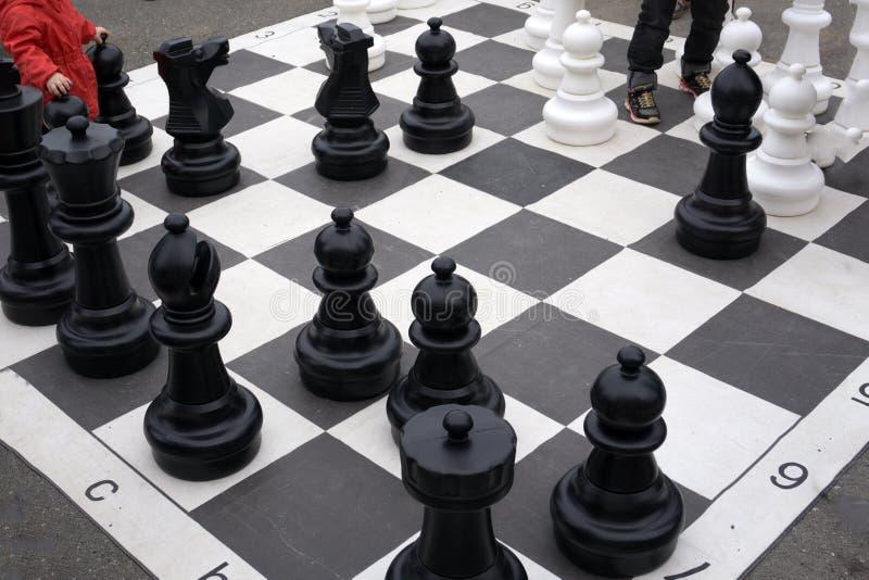 Foto mit einem Bild eines Schach Brettes und der Schachfiguren, hölzerne Schachfiguren auf einem Schach Brett stockbilder
