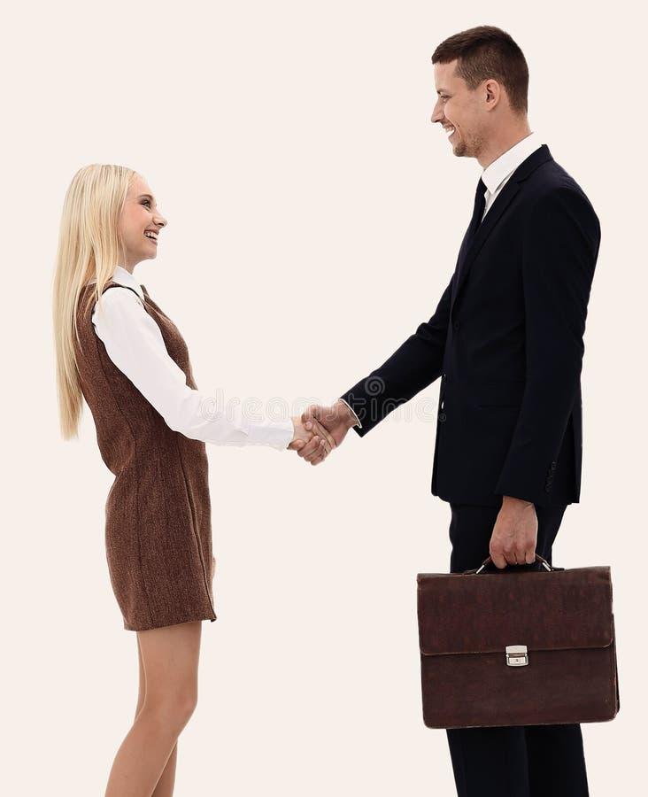 Foto nella piena crescita la stretta di mano fra l'avvocato ed il cliente immagine stock