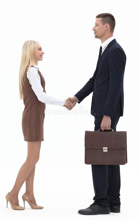 Foto nella piena crescita la stretta di mano fra l'avvocato ed il cliente immagini stock