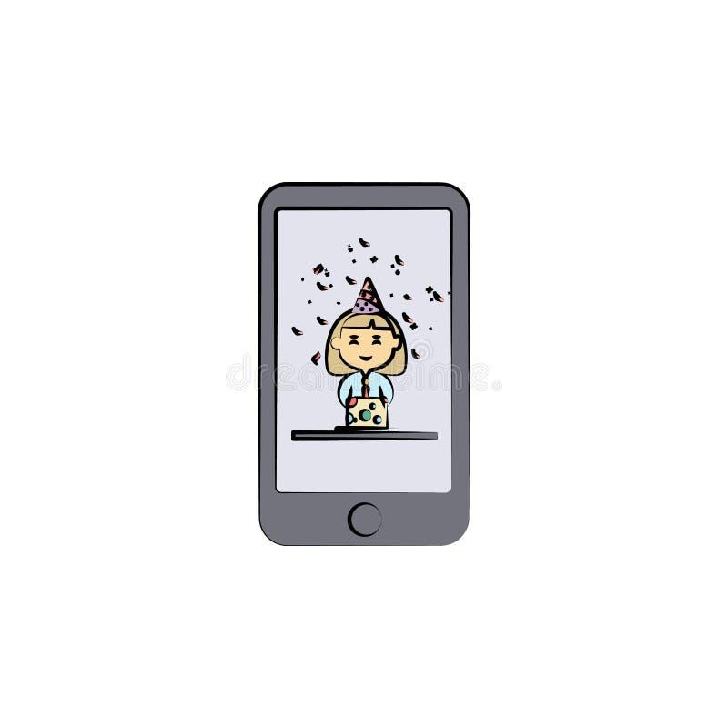 a foto no telefone com um aniversário coloriu o ícone Elemento do ícone do aniversário para apps móveis do conceito e da Web Foto ilustração do vetor