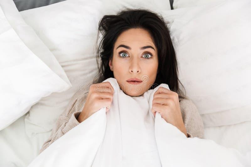 Foto oben von der entsetzten Frau 30s, die zu Hause im Bett, unter weißer Decke liegt lizenzfreie stockfotos