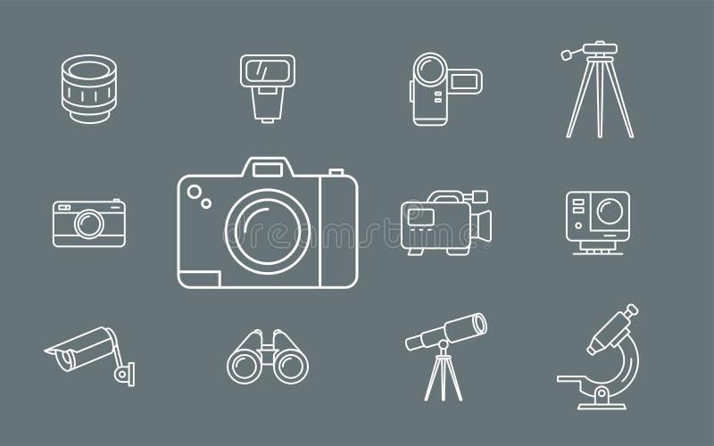 Foto- och för videoutrustning symboler - ställ in rengöringsduk och mobil 01 royaltyfri illustrationer