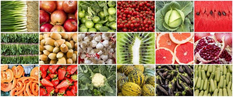 Foto orgânica fresca da colagem das frutas e legumes fotos de stock royalty free