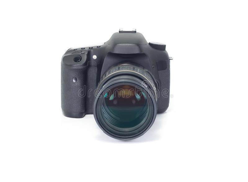 Foto oude DSLR camera op wit royalty-vrije stock afbeelding