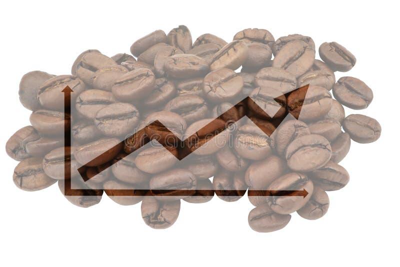 Foto pálida de feijões de café com o gráfico simbólico destacado para o aumento nas vendas ilustração do vetor