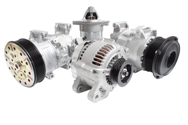 Foto på sammansättningen av de tre delarna för motorn Generator, betingande kompressor för luft och startknappen royaltyfri bild