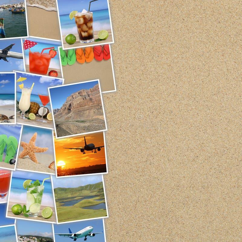 Foto a partire dalle vacanze estive, spiaggia, bevande, viaggianti, festa a immagine stock libera da diritti