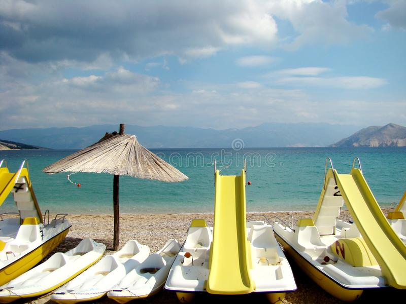 Foto perfecta de la postal de una playa imagenes de archivo