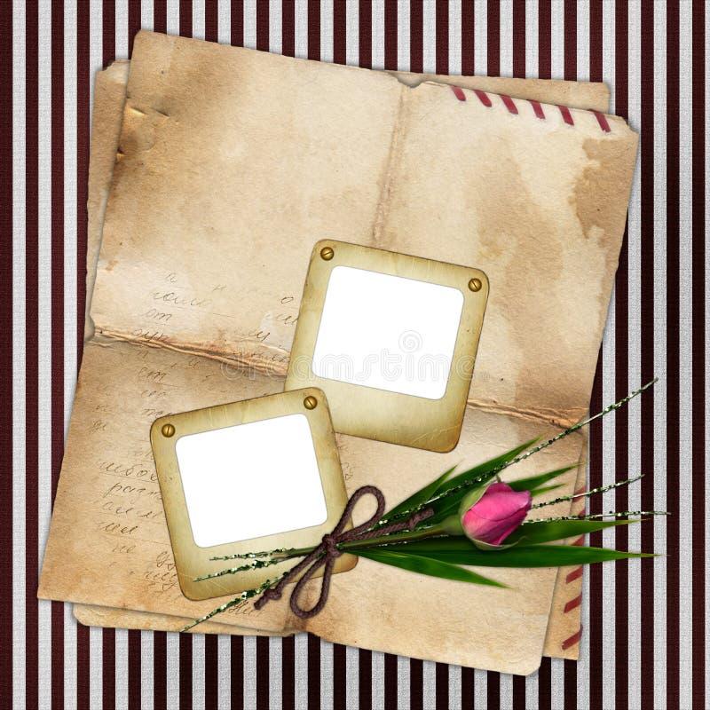 Foto Plättchen mit altem Papier und stieg vektor abbildung