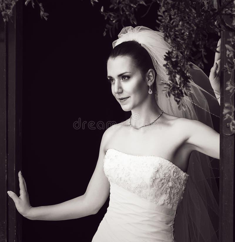 Foto preto e branco da noiva enigmática fotografia de stock