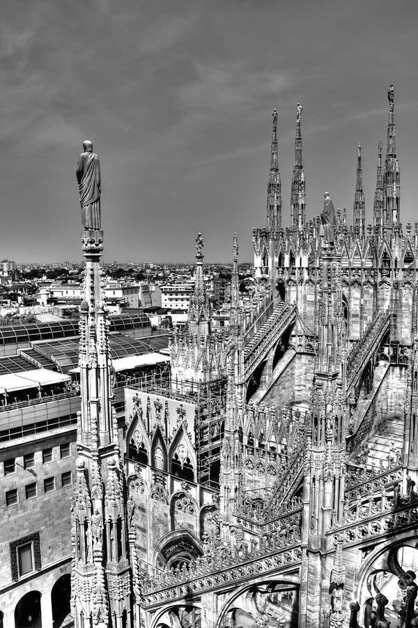 Foto preto e branco das estátuas de mármore, dos pináculos e das esculturas da pedra no telhado do domo e da arquitetura da cidad fotos de stock