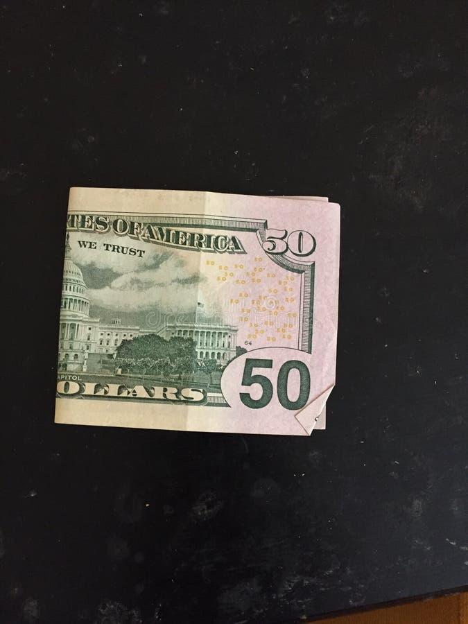 Foto real do dinheiro da imagem de cinqüênta notas de dólar fotografia de stock