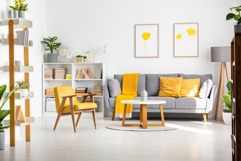 Foto reale di un interno del salone di scandi con gray e giallo fotografie stock libere da diritti