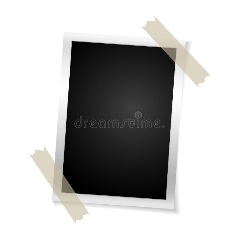 Foto retro do quadro no fundo branco Fotografia velha vazia vertical do vintage na fita pegajosa Ilustração do vetor ilustração do vetor