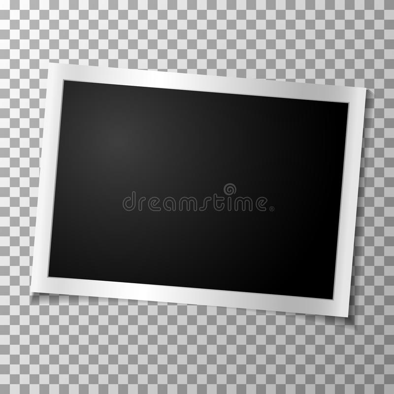 Foto retro do quadro no fundo transparente Fotografia velha vazia horizontal Vetor ilustração royalty free