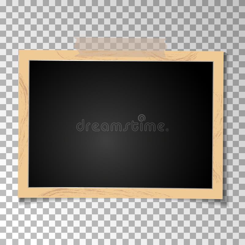 Foto retro do quadro no fundo transparente Fotografia velha vazia horizontal Vetor ilustração do vetor