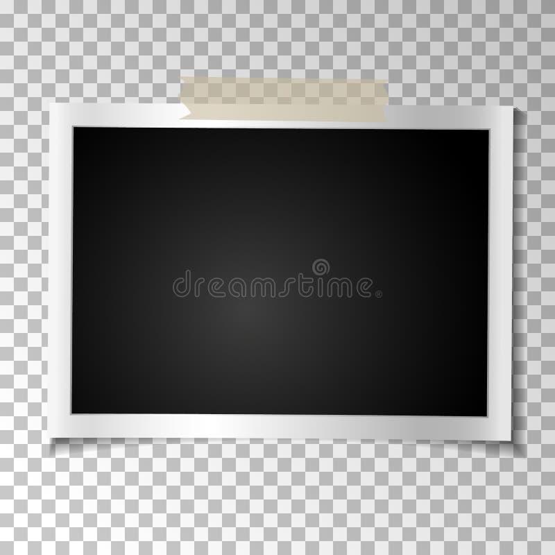 Foto retro do quadro no fundo transparente Fotografia velha vazia horizontal do vintage na fita pegajosa Ilustração do vetor ilustração royalty free