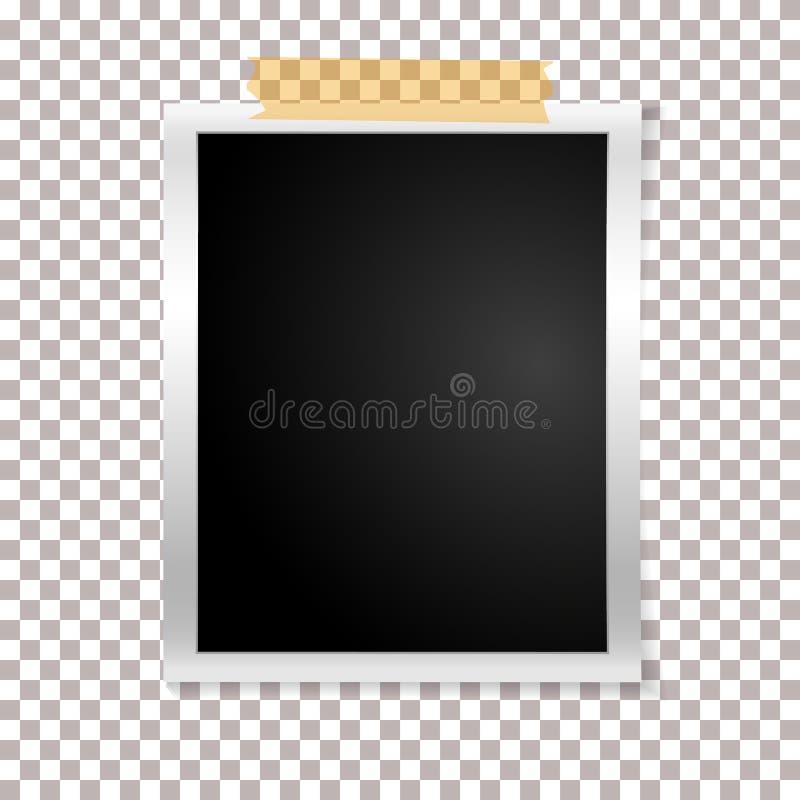 Foto retro do quadro no fundo transparente Fotografia velha vazia vertical do vintage na fita pegajosa Ilustração do vetor ilustração stock