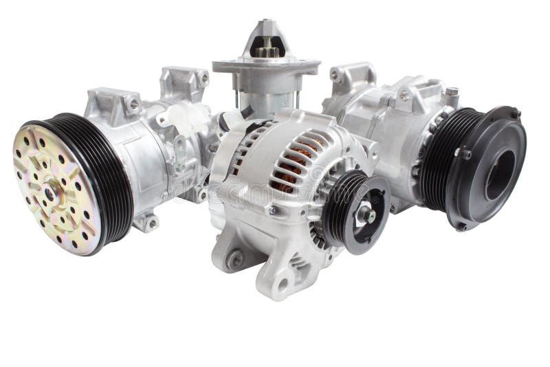 Foto's op de samenstelling van de drie delen voor de motor Generator, airconditioningscompressor en de aanzet royalty-vrije stock afbeelding