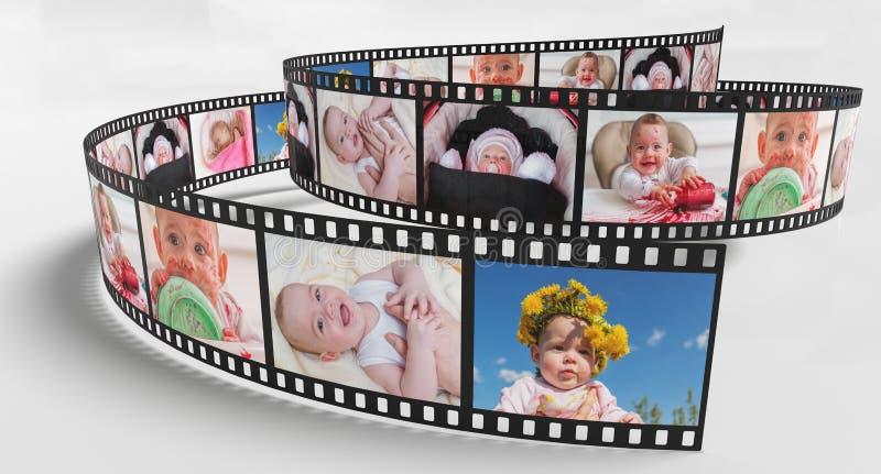Foto's van baby op retro filmstrook 3D teruggegeven illustratie vector illustratie