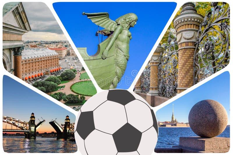 Foto'scollage/reeks van St. Petersburg - de meeste populaire plaatsen: Peter en Paul Fortress, beeldhouwwerk van meermin met pijl royalty-vrije stock foto