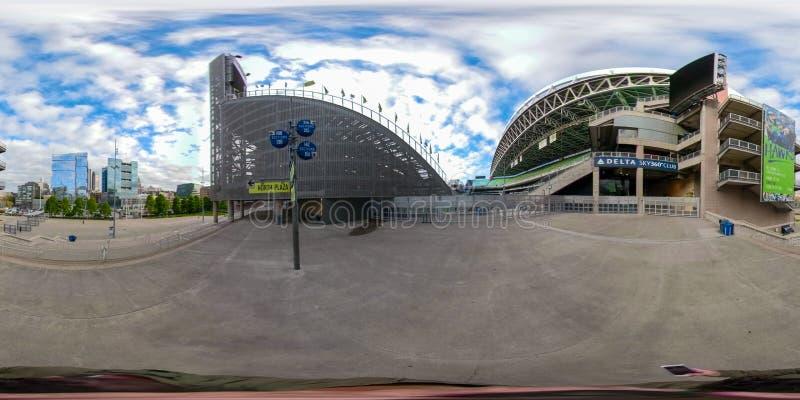 foto sferica equirectangular 360 di Seattle del centro Washington immagine stock