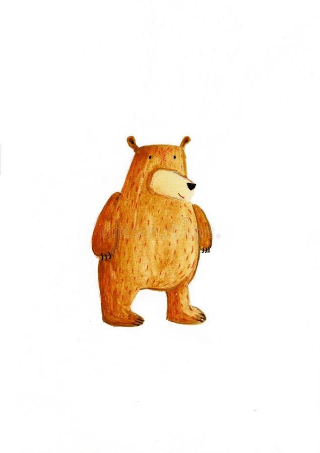 Foto sind im Berlin-Zoo geschossen worden Aquarellkind-` s Illustration Aquarellillustration eines netten Bären, Winterdruck, Kin lizenzfreie abbildung