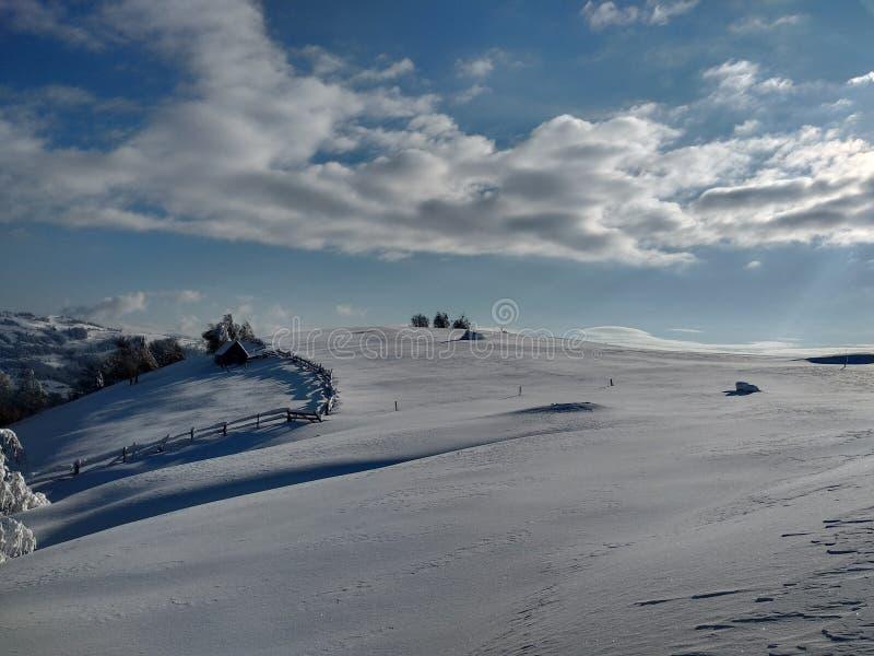 Beautiful winter landscapes with mountains and snow-laden trees in the village of Parva, Romania, Transylvania. Foto tomada en Enero 2019, en pueblo de parva stock photos
