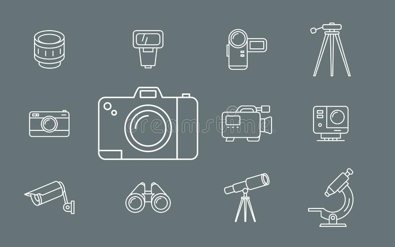 Foto-und Videoausrüstungs-Ikonen - Satz-Netz und Mobile 01 lizenzfreie abbildung
